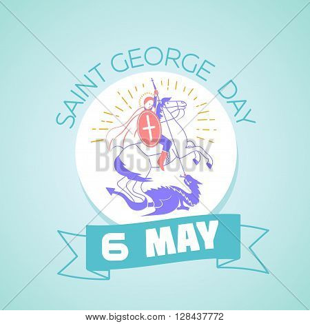 Calendar for each day on may 6. Greeting card. Holiday - Saint Georgi. Icon in the linear style