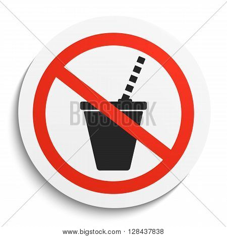 No Fast Food Prohibition Sign on White Round Plate. No Drink forbidden symbol. No Soda Vector Illustration on white background