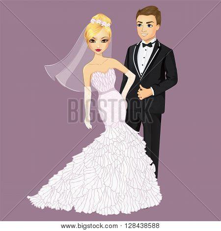 Vector wedding illustration of beautiful bride in elegante dress and groom