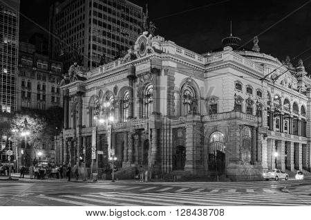 Sao Paulo, Brazil - January 25: Municipal Theater Of Sao Paulo, Built In 1903 And Opened In 1911, Wi