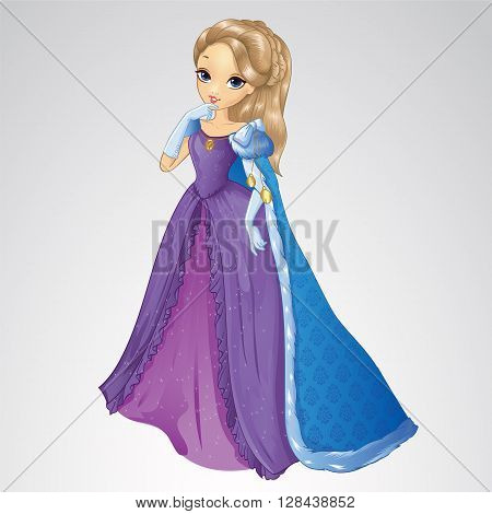 Vector illustration of snow queen princess girl in purple dress and mantle