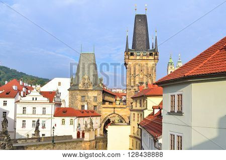Prague Czech Republic. Old town on the background of the cloudy sky