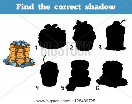 Find The Correct Shadow. Vector Color Pancakes With Blueberry