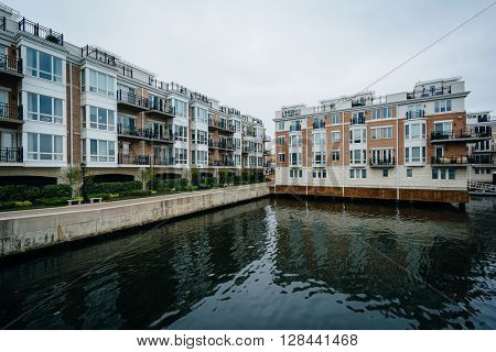 Waterfront Apartment Buildings At The Inner Harbor, In Baltimore, Maryland.