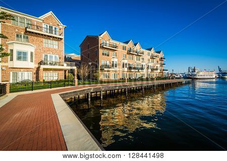 Waterfront Apartment Buildings In Canton, Baltimore, Maryland.
