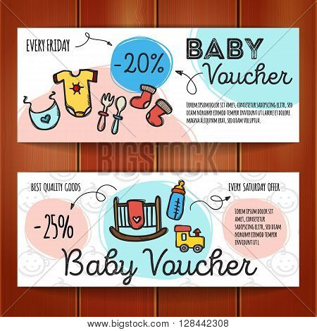 Vector set of discount coupons for baby goods. Colorful doodle style discount voucher templates. Baby accessories and clothes promo offer cards.