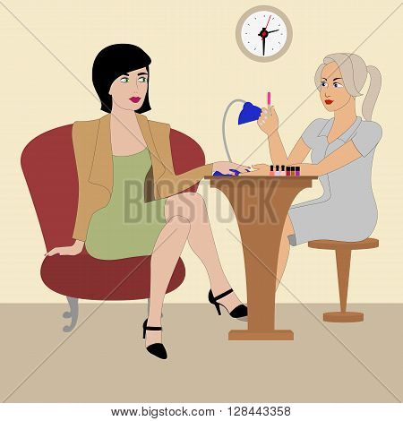 Vector illustration of a beautiful manicurist doing manicure. Beauty Salon for manicure and pedicure. Nail salon. Technician nails.
