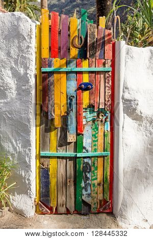 EL GURO; LA GOMERA, SPAIN - FEBRUARY 03. Colorful painted door in the small village El Guro on La Gomera on February 03, 2016. . El Guro is home of many artists who spend their life on the island.