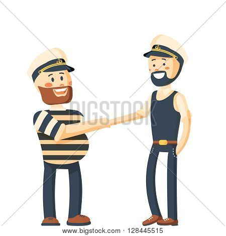 Seamans. Vector old sailors illustration, seaman, captain, fisherman. Captains meeting, sea collection. Vector illustration of a two sailors shaking hands