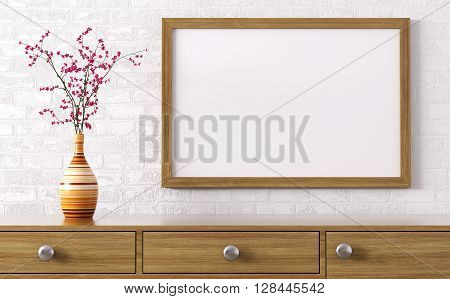 Blank Wooden Frame Above Dresser 3D Rendering
