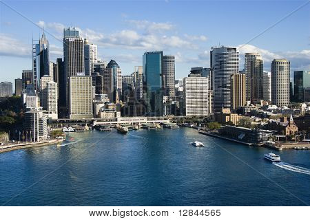 Aerial view of skyscrapers and Sydney Cove in Sydney, Australia.