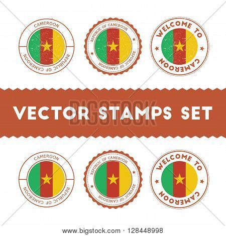 Cameroonian Flag Rubber Stamps Set. National Flags Grunge Stamps. Country Round Badges Collection.