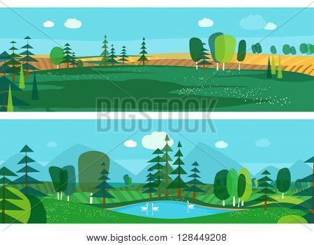 Vector flat illustrations - Abstract forest. Wildlife. Forest view. Mountain landscape. Ecosystem. Forest lake