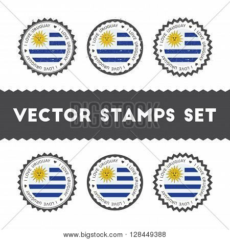 I Love Uruguay Vector Stamps Set. Retro Patriotic Country Flag Badges. National Flags Vintage Round
