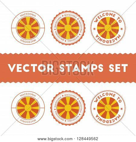Macedonian Flag Rubber Stamps Set. National Flags Grunge Stamps. Country Round Badges Collection.