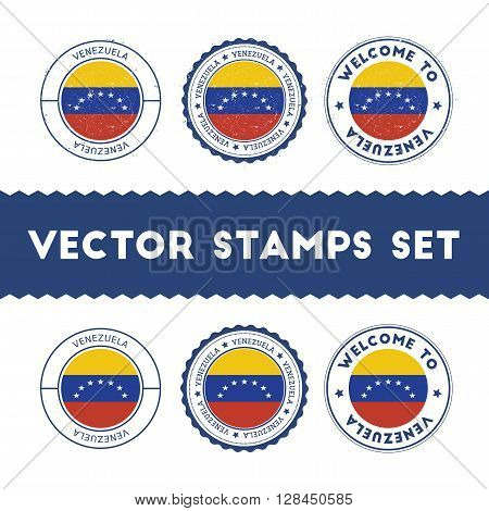 Venezuelan Flag Rubber Stamps Set. National Flags Grunge Stamps. Country Round Badges Collection.