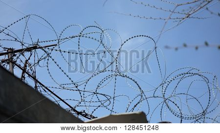 Barbed wire stretched along the brick walls