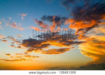 Illuminated Clouds And Sky
