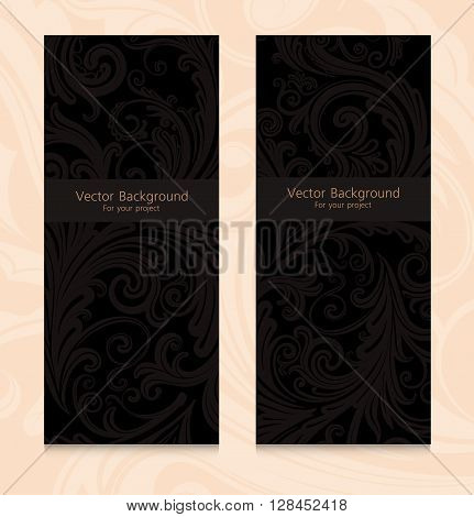Premium royal vintage victorian set of templates dark brown floral classic backgrounds vector elegant design for restaurant menu, book cover, invitation, brochure, wall paper, backdrops