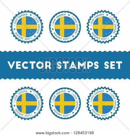 I Love Sweden Vector Stamps Set. Retro Patriotic Country Flag Badges. National Flags Vintage Round S