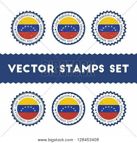 I Love Venezuela, Bolivarian Republic Of Vector Stamps Set. Retro Patriotic Country Flag Badges. Nat