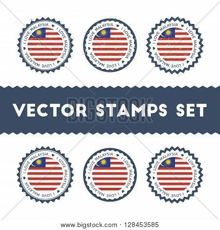 I Love Malaysia Vector Stamps Set. Retro Patriotic Country Flag Badges. National Flags Vintage Round