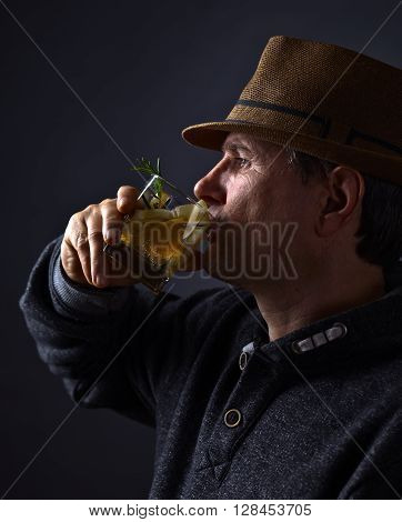 Man With Glass Of Alcoholic Drink