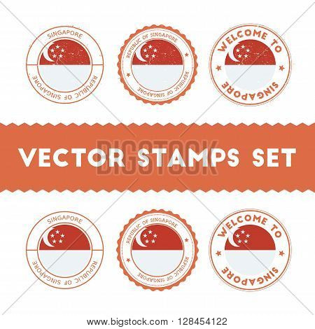 Singaporean Flag Rubber Stamps Set. National Flags Grunge Stamps. Country Round Badges Collection.