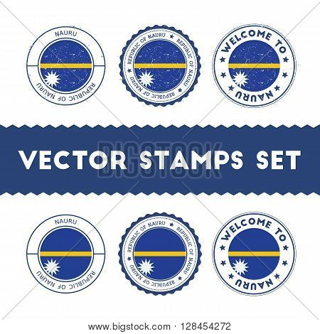Nauruan Flag Rubber Stamps Set. National Flags Grunge Stamps. Country Round Badges Collection.