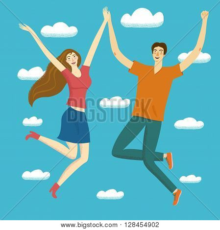 Happy boy and girl jumping together in the skies. Feelings of lightness happiness carefree joylove friendship. Cartoon illustration for your design.