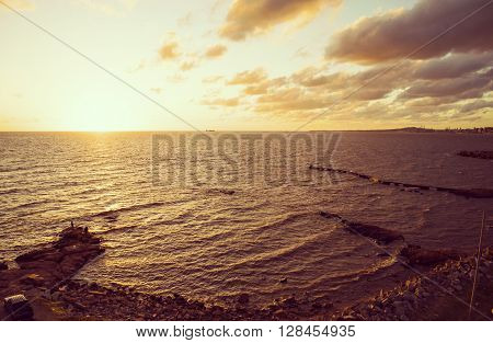 Rocky Beach Seaside Panoramic Landscape