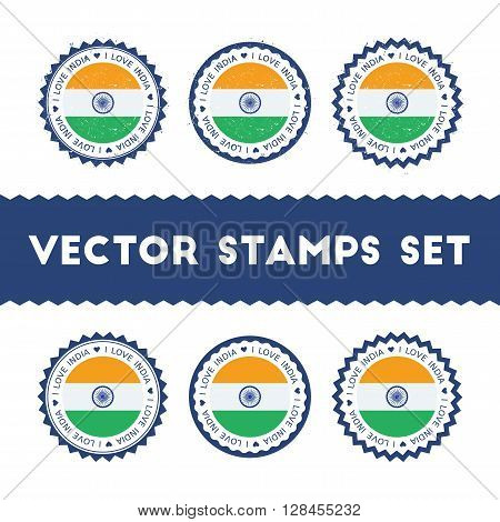 I Love India Vector Stamps Set. Retro Patriotic Country Flag Badges. National Flags Vintage Round Si