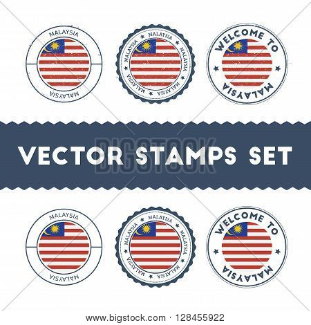 Malaysian Flag Rubber Stamps Set. National Flags Grunge Stamps. Country Round Badges Collection.