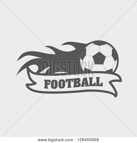 Logo, Emblem On The Theme Of Soccer, Football. Design Concept Of Football Icon With Ball On Fire