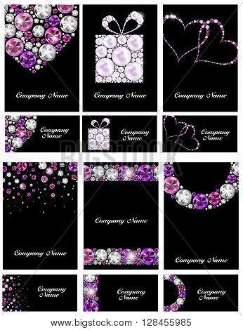 Abstract Luxury Black Diamond Business Card Set Templates Vector Illustration EPS10
