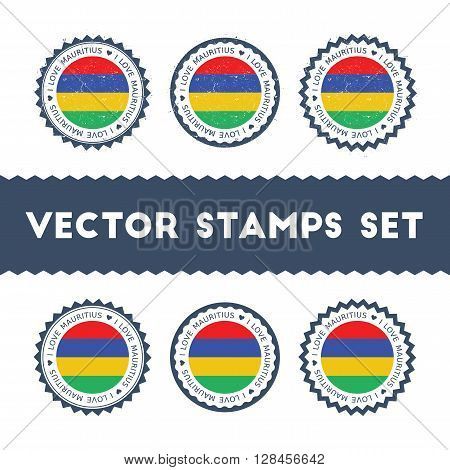 I Love Mauritius Vector Stamps Set. Retro Patriotic Country Flag Badges. National Flags Vintage Roun