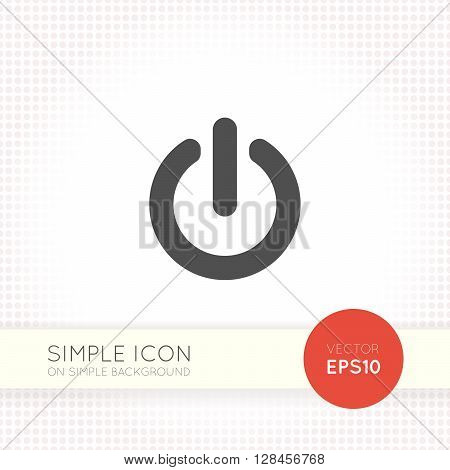 Power button icon on simple geometric background. Power button icon ai objects. EPS Drawing of user interface button.