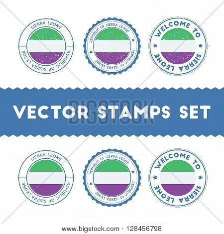 Sierra Leonean Flag Rubber Stamps Set. National Flags Grunge Stamps. Country Round Badges Collection