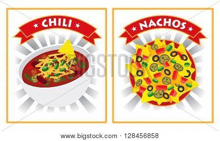 chili and nachos illustration vector design label