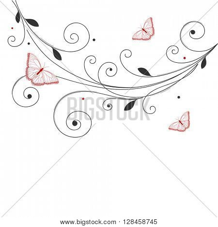 Abstract floral background with butterfly. Element for design.