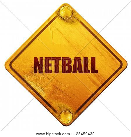 netball sign background, 3D rendering, isolated grunge yellow ro