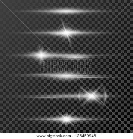 Set of glow light effect stars bursts with sparkles isolated on black transparent background template. Vector illustration