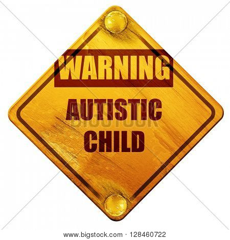 Autistic child sign, 3D rendering, isolated grunge yellow road s