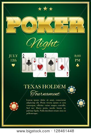 Poker tournament poster with four playing cards in center chips inscriptions stars on green background vector illustration