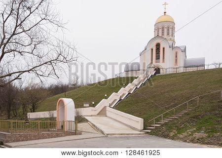 Varvarovka, Russia - March 15, 2016: Barbara The Great Martyr Church In The Village Varvarovka, A Su