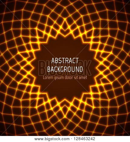 Abstract orange circle polygonal technology border background with light effects. Vector illustration