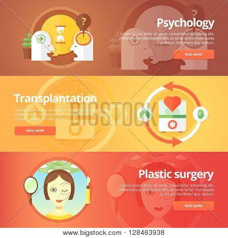 Medical and health banners set. Sexology. Transplantation. Organs donation. Anaplasty. Plastic surgery. Modern flat vector illustrations. Horizontal banners.