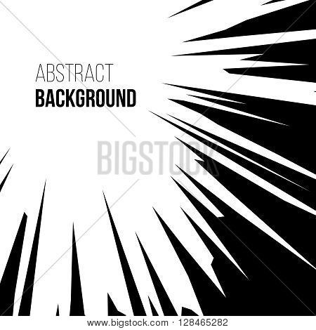 Abstract comic book black and white graphic explosion radial speed lines background. Vector illustration