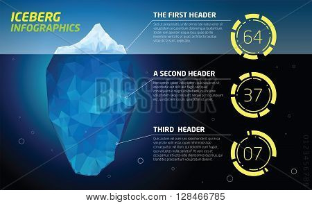 Iceberg infographics. Structure design, ice and water, sea vector