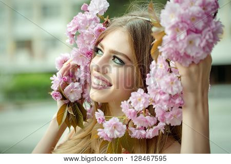 Beautiful Young Woman With Twig